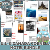 United States and Canada Geography Cornell Notes *Bundle*