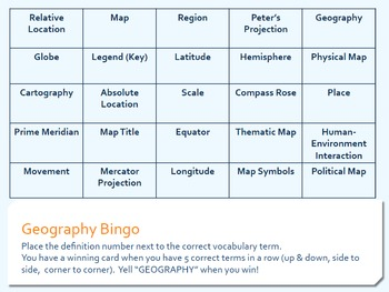Geography Introduction Terms Bingo Game - Vocabulary