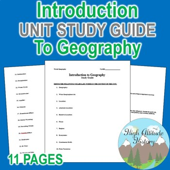 Introduction to Geography Unit Study Guide (Geography)
