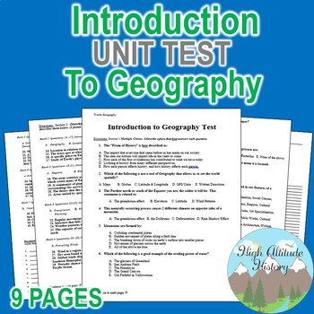 Introduction & Tools of Geography Unit Test / Exam / Assessment (Geography)