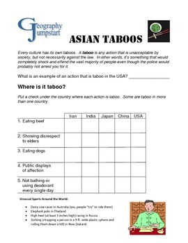 World Geography Jumpstarts Unit 6:  Asia Activities and mini-lessons