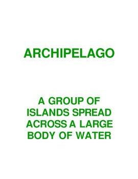 Geography Landform Vocabulary Word Wall