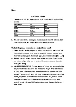 Landforms Geography Project and Rubric - Promotes Creativi