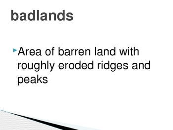 Geography Landforms Vocabulary Definitions