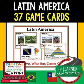 Geography Latin America 37 I Have Who Has Game Cards