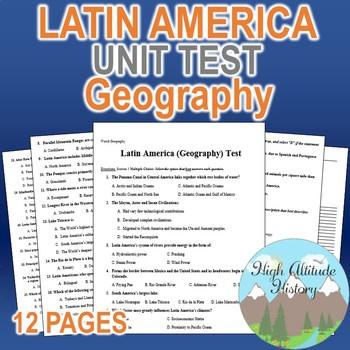 Latin America Unit Test / Exam / Assessment (Geography)