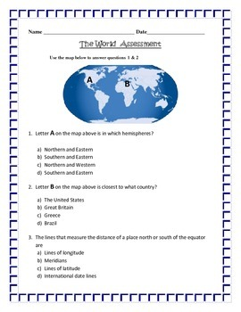 Geography:  Latitude, Longitude and Hemispheres -ASSESSMENT 3rd SS