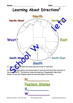 Geography: Learning Directions (North, South, East, West, NW, NE, SW & SE)