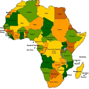 Geography/Map 10 Internet Assignments on African Countries Bundle
