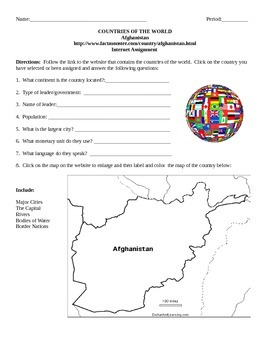 Geography/Map Afghanistan Internet Assignment Middle or Hi