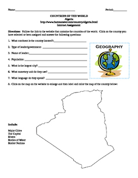 Geography/Map Algeria Internet Assignment Middle or High School