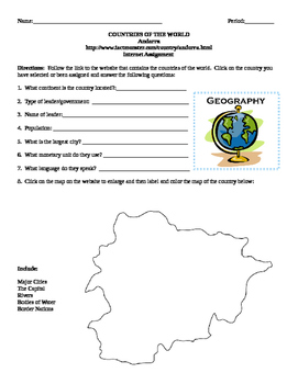 Geography/Map Andorra Internet Assignment Middle or High School