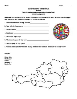 Geography/Map Austria Internet Assignment Middle or High School
