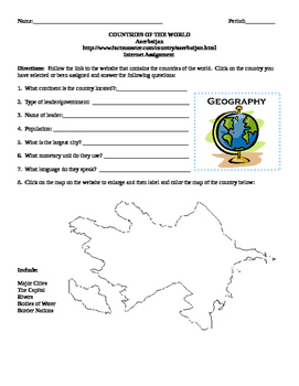 Geography/Map Azerbaijan Internet Assignment Middle or High School