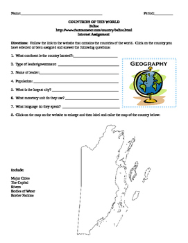 Geography/Map Belize Internet Assignment Middle or High School