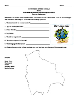 Geography/Map Bolivia Internet Assignment Middle or High School