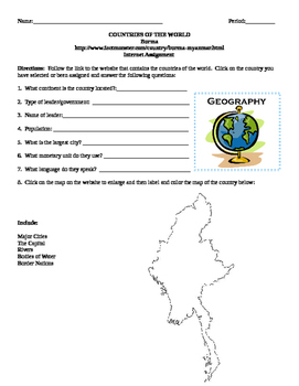 Geography/Map Burma Internet Assignment Middle or High School