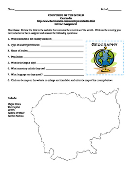 Geography/Map Cambodia Internet Assignment Middle or High School