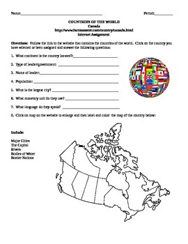 Geography/Map Canada Internet Assignment Middle or High School