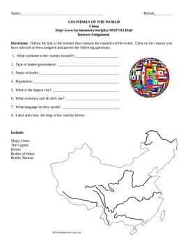 Geography/Map China Internet Assignment Middle or High School