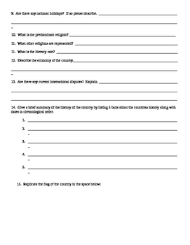 Geography/Map Colombia Internet Assignment Middle or High School