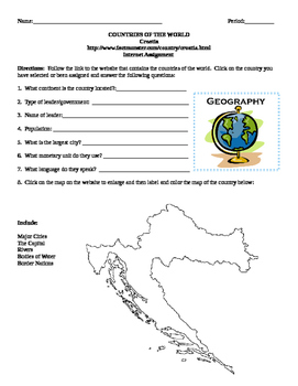 Geography/Map Croatia Internet Assignment Middle or High School