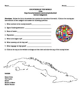 Geography/Map Cuba Internet Assignment Middle or High School