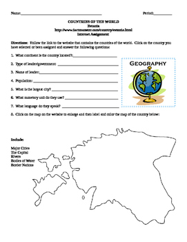 Geography/Map Estonia Internet Assignment Middle or High School