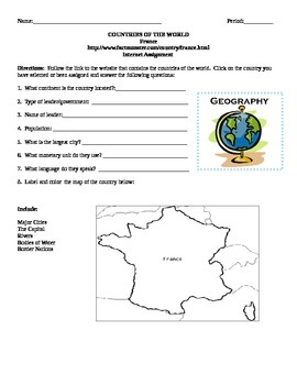Geography/Map France Internet Assignment Middle or High School