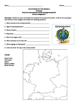 Geography/Map Germany Internet Assignment Middle or High School