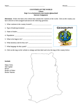 Geography/Map Ghana Internet Assignment Middle or High School
