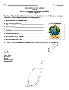 Geography/Map Grenada Internet Assignment Middle or High School