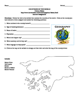 Geography/Map Guinea Bissau Internet Assignment Middle or High School