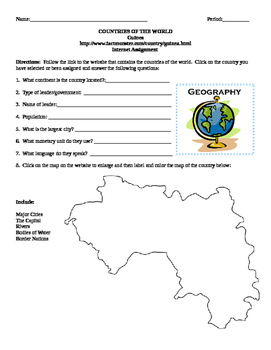 Geography/Map Guinea Internet Assignment Middle or High School