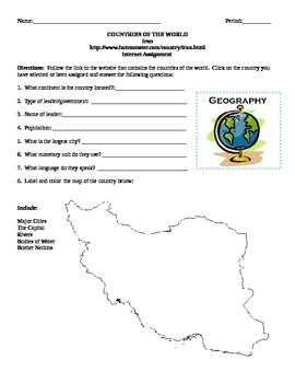 Geography/Map Iran Internet Assignment Middle or High School