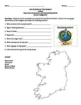 Geography/Map Ireland Internet Assignment Middle or High School