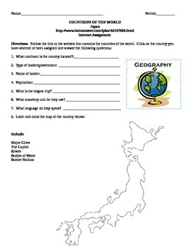 Geography/Map Japan Internet Assignment Middle or High School