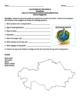 Geography/Map Kazakhstan Internet Assignment Middle or High School