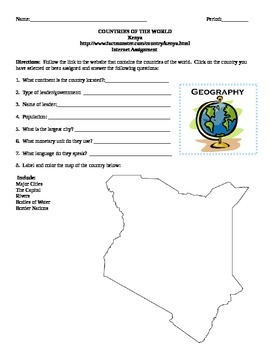 Geography/Map Kenya Internet Assignment Middle or High School
