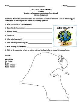 Geography/Map Kuwait Internet Assignment Middle or High School