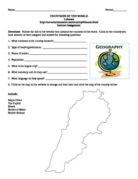 Geography/Map Lebanon Internet Assignment Middle or High School