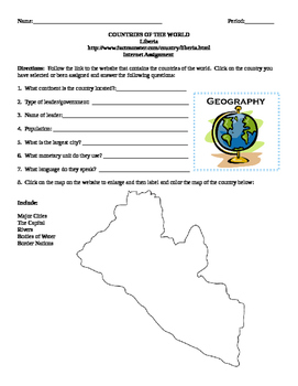 Geography/Map Liberia Internet Assignment Middle or High School
