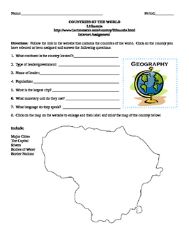 Geography/Map Lithuania Internet Assignment Middle or High School