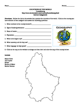 Geography/Map Luxembourg Internet Assignment Middle or Hig