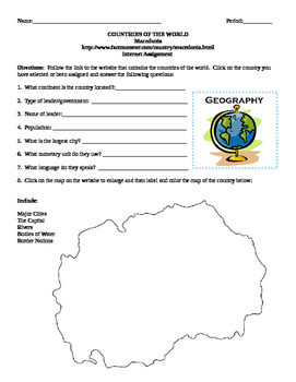 Geography/Map Macedonia Internet Assignment Middle or High School