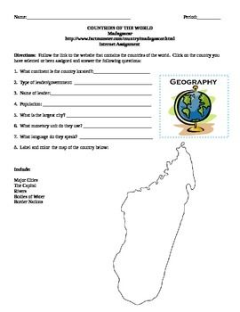 Geography/Map Madagascar Internet Assignment Middle or High School