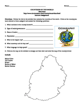 Geography/Map Mauritius Internet Assignment Middle or High School