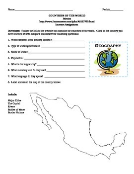 Geography/Map Mexico Internet Assignment Middle or High School