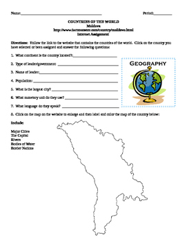 Geography/Map Moldova Internet Assignment Middle or High School