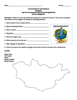 Geography/Map Mongolia Internet Assignment Middle or High School